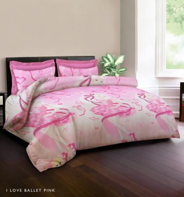 King Rabbit Motif I Love Balet Bed Cover - Pink