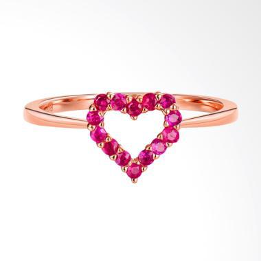 Tiaria 18K Ruby Ring Aksesoris Cincin Emas - Rose Gold