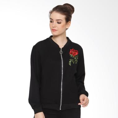 Heart and Feel 1259.BF With Rose Embroidery Boomber Jacket - Black