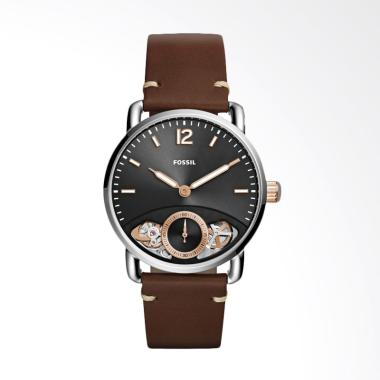 Fossil The Commuter ME1165 Jam Tang ... wn Leather Strap - Silver