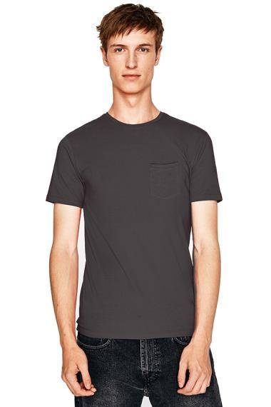 Elfs Shop Oneck Katun Combed 20S Slimfit Pocket T-Shirt Pria - Abu Tua