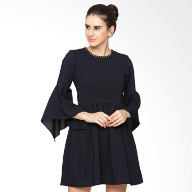 Heart and Feel 1308.D Skater With Square Layered Sleeves Dress - Navy