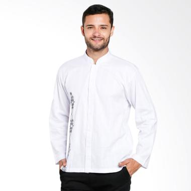 Aitana Bordir Baju Koko Pria - Putih [YN-11719-LS]