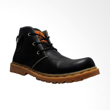 Cut Engineer Safety Lacoste Genuine Leather Sepatu Boot Pria - Black