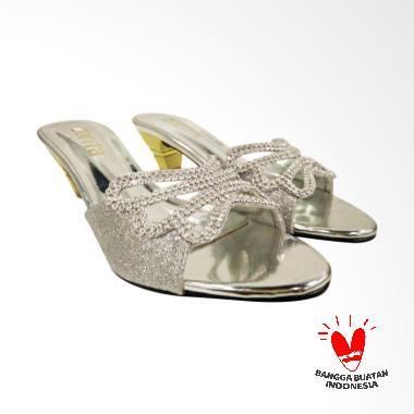 Zorita Shoes Butterfly Selop Sandal Heels Wanita - Silver