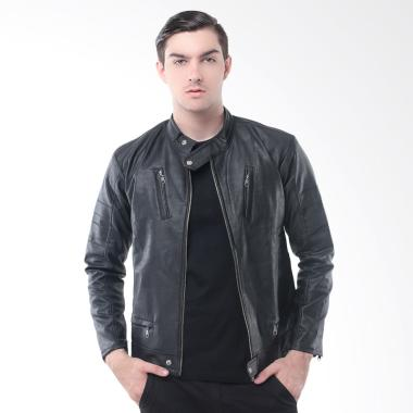 Crows Denim Exclusive Leather Jaket Pria - Black