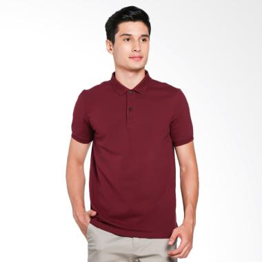 Giordano Solid Polo Shirt Pria - Red Maroon [0101725309]