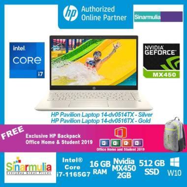 harga HP Pavilion 14-dv0514TX/dv0516TX i7-1165G7 512GB SSD 16GB MX450 Win10 SILVER Blibli.com