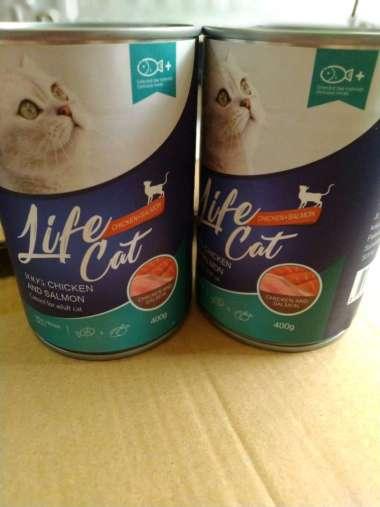 harga Life Cat kaleng Chicken & Salmon ADULT 400 gr-Makanan kucing basah life cat adult 400 gram Blibli.com