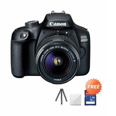 harga Canon EOS 4000D MARK III LENS 18-55 Kamera DSLR + Free Screenguard + SDHC 16GB + Gorillapod Blibli.com