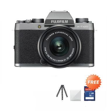 Fujifilm X-T100 Kit 15-45mm Kamera Mirrorless + Free Screenguard Terpasang + SDHC 16GB + Gorillapod