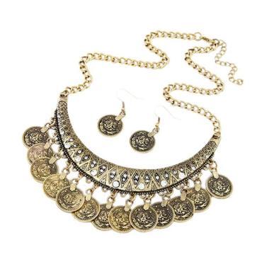 Bluelans Women's Vintage Coin Style Choker Necklace Hook Earrings Statement Jewelry Set - Gold