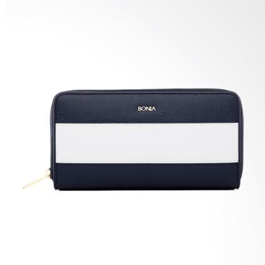 Bonia The Line Zipper Wallet - Navy Blue
