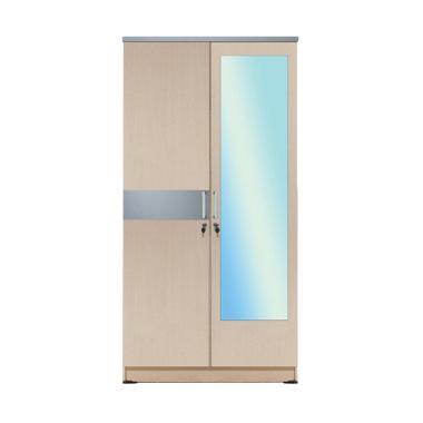 Kirana LP 2 Manhattan Cermin WO 2 Pintu Lemari Pakaian - White Oak