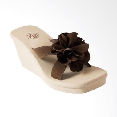 Megumi Buttercup Sandal Wedges - Brown