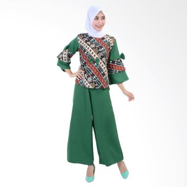 Jfashion Stelan Blouse Batik dan Celana Kulot Ayu - Hijau
