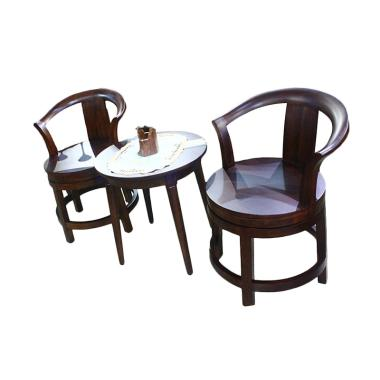 Sen Furniture Sheraton Swivel Chair Set Kursi dan Meja - Coklat