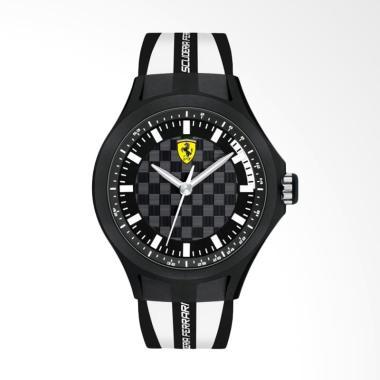 Ferrari Scuderia Pit Crew Rubber Jam Tangan Pria - Hitam Putih 0830191