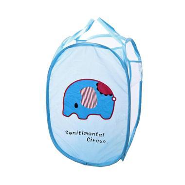 OEM Motif Blue Elephant Keranjang Baju Kotor - Biru