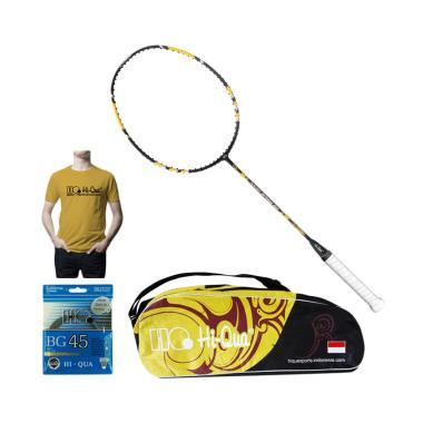 Weekend Deal - Hi-Qua Paket Nano Speed 60 Peralatan Badminton [Senar BG45/Tas/Kaos]