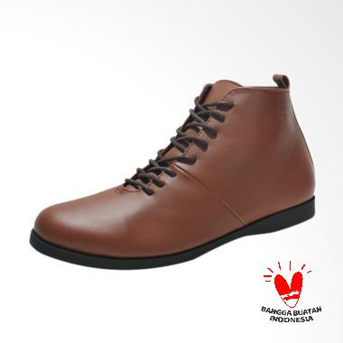 Fellas Shoes Basic HomeTown Syntetic Leather Boots Shoes Pria - Brown