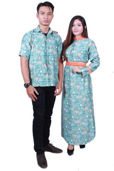 Batik Putri Ayu Solo SRG502 Batik Sarimbit Gamis Baju Batik - Hijau