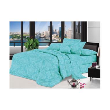 Lidia Polos Emboss Set Bed Cover dan Sprei - Blue