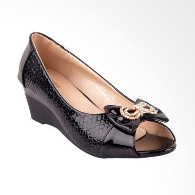 Inside Hisako Sepatu Wedges Wanita - Black