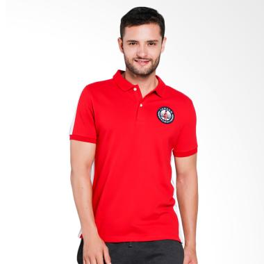 Giordano Union Jack Embroidery Polo Shirt Pria - Red [0101732271]