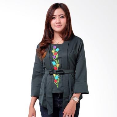 Batik Distro BA9093 Kutu Baru Bordir Kebaya Wanita - Hijau