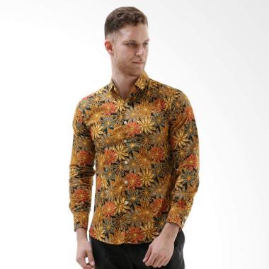 VM Casual Slimfit Kemeja Panjang Batik Pria - Kuning Gold