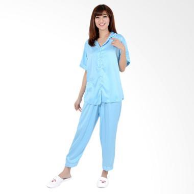 Okechuku CP Satin  Baju Tidur Lengan Pendek Wanita - Biru Muda
