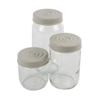 Olafur Kyra Jar Set Toples Kaca - Grey [3 pcs]