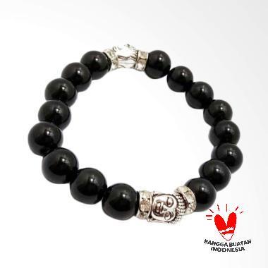 Vee 2 Kepala Budha Batu Giok Gelang Terapi Kesehatan - Hitam