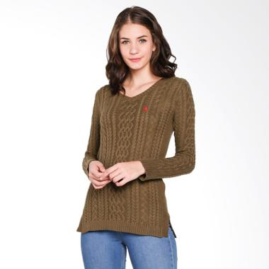 big sale 6689c 34cad POLO RALPH LAUREN Ladies Cashmere Company Olive Sweater Wanita - Navy -  SP-PY0200001 -
