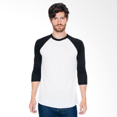 DEcTionS Kaos Distro Polos Oblong L ... -Shirt Pria - Putih Hitam