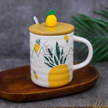 harga Mug Keramik Tutup Kayu Nenas Pineapple Gelas Ceramic Minum Kopi Teh Putih Blibli.com