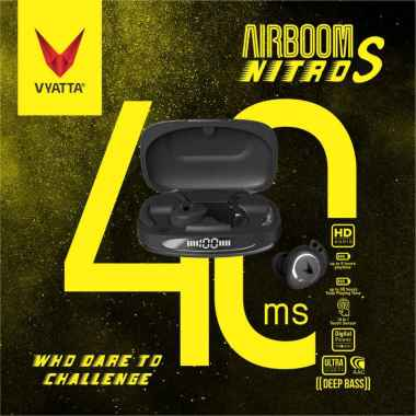 harga VYATTA Airboom Nitro S TWS Bluetooth Headset - Gaming Mode 40ms, Earhook Design, 14in1 Touch Sensor + Charger 2.4A Black Blibli.com
