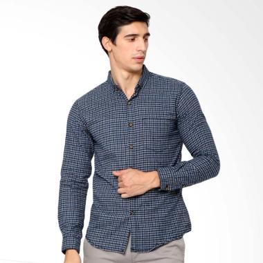 MENTLI Dean Flannel Shirt Kemeja Pria - Biru
