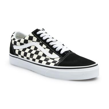 Vans UA Old Skool Primary Check Sneakers Pria - Black/White 7 -