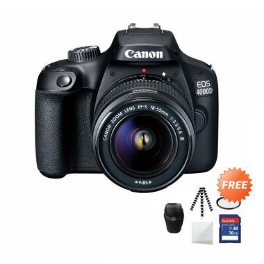 harga Canon EOS 4000D MARK III LENS 18-55 Kamera DSLR + Free Screenguard + SDHC 16GB + Gorillapod + UV Filter + Tas Universal Blibli.com