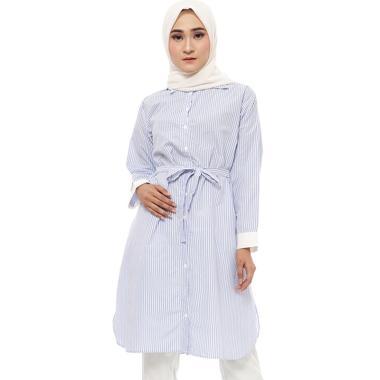 Zahra Signature Longsleeve Stripe with Ribbon Tunic Muslim Wanita