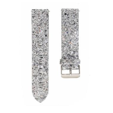 Bluelans Faux Leather Shiny Sequin Women Smart Bracelet Strap Watch Band for Fitbit Versa