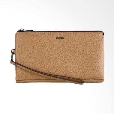 Bonia Women Zip Purse Pouch Bag - Dark Beige Brown