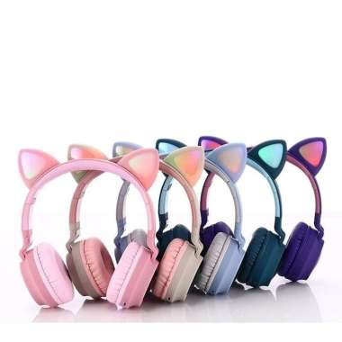 harga 1 PCS Headphone Bando Kucing LED Wireless Bluetooth untuk anak BLUE Blibli.com