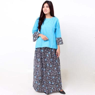 Batik Distro BA8375 Blus Rok Embos Pendek Set Pakaian Wanita - Biru