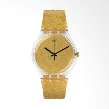 Swatch Nuit Doree SUOK122 Bahan Tali Plastik Jam Tangan Wanita - Gold
