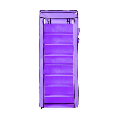 Nine box Rak Sepatu - Lavender Purple [10 Cover/9 Tingkat]