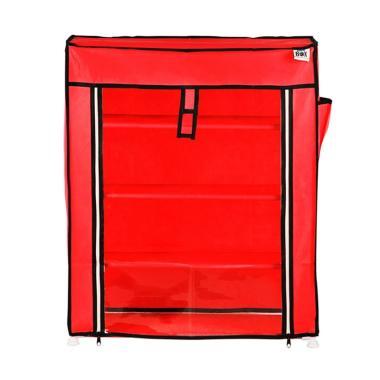 Nine box Transparan Rak Sepatu - Merah [4 Susun]