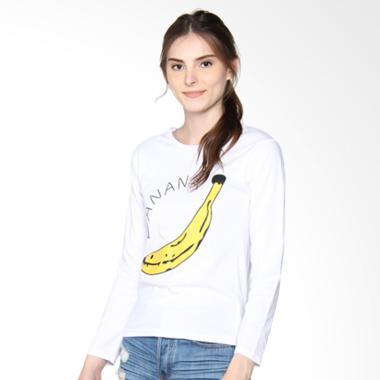 JCLOTHES Kaos Lengan Panjang Wanita Banana - Putih
